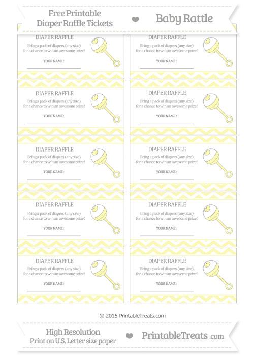 Free Pastel Light Yellow Chevron Baby Rattle Diaper Raffle Tickets
