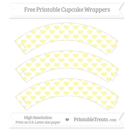 Free Pastel Light Yellow Heart Pattern Cupcake Wrappers