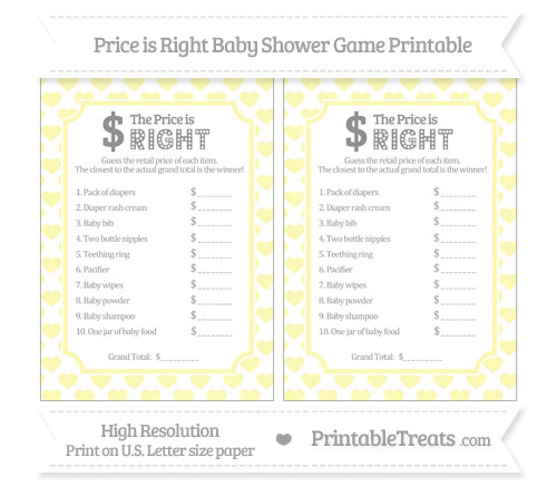 heart pattern price is right baby shower game printable