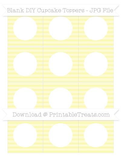 Free Pastel Light Yellow Horizontal Striped Blank DIY Cupcake Toppers
