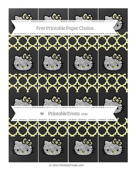 Free Pastel Light Yellow Quatrefoil Pattern Chalk Style Hello Kitty Paper Chains