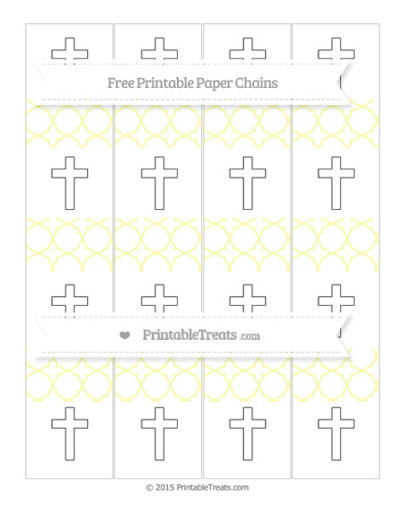 Free Pastel Light Yellow Quatrefoil Pattern Cross Paper Chains