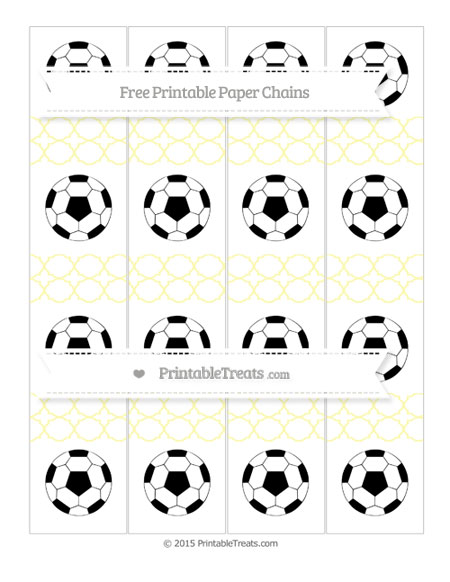 Free Pastel Light Yellow Quatrefoil Pattern Soccer Paper Chains