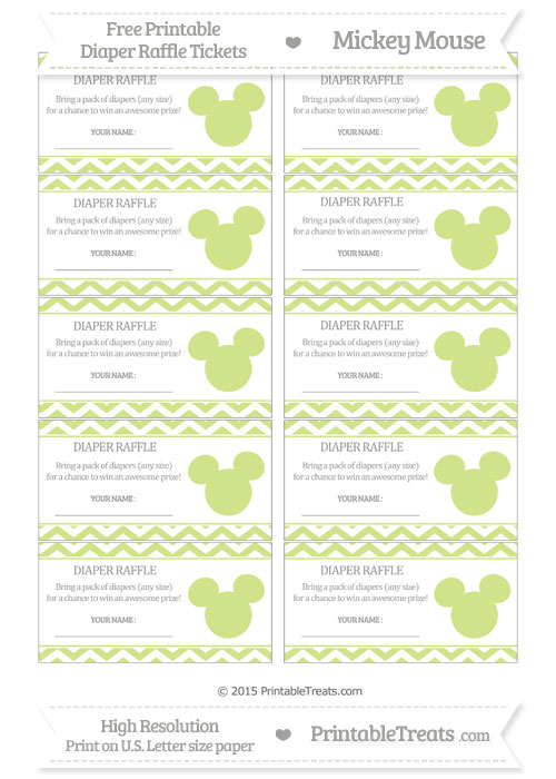 Free Pastel Lime Green Chevron Mickey Mouse Theme Diaper Raffle Tickets