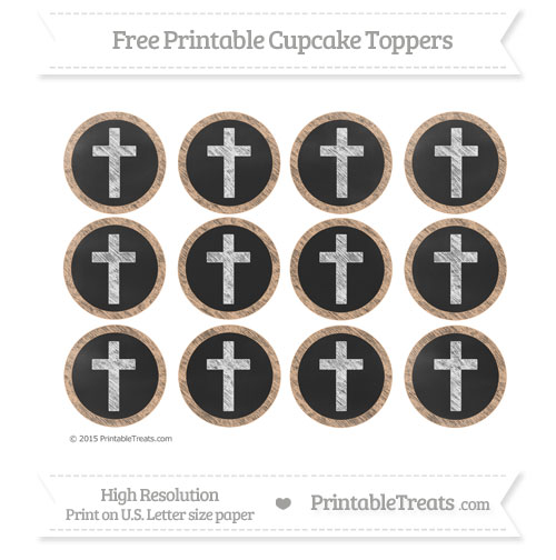 Free Pastel Orange Chalk Style Cross Cupcake Toppers