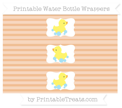 Free Pastel Orange Horizontal Striped Baby Duck Water Bottle Wrappers