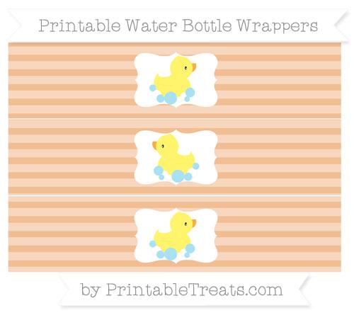 Free Pastel Orange Horizontal Striped Baby Duck Water Bottle Wrappers