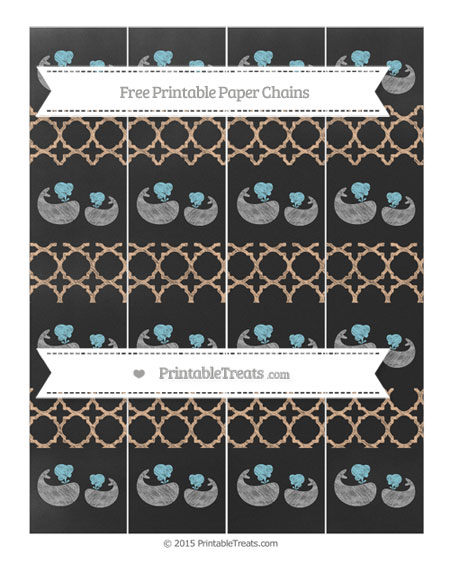 Free Pastel Orange Quatrefoil Pattern Chalk Style Baby Whale Paper Chains