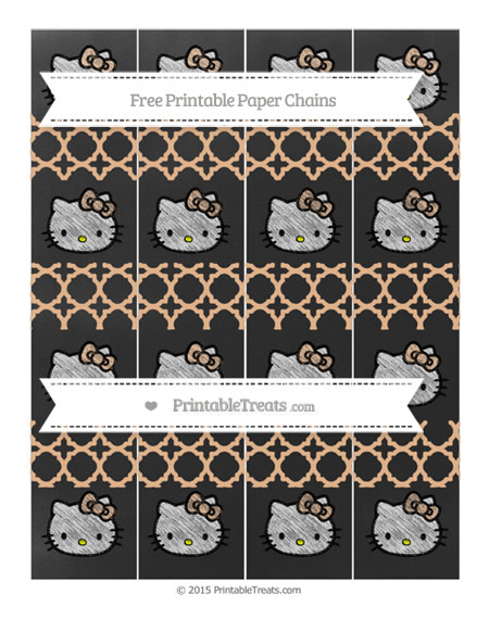 Free Pastel Orange Quatrefoil Pattern Chalk Style Hello Kitty Paper Chains
