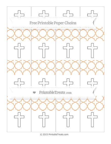 Free Pastel Orange Quatrefoil Pattern Cross Paper Chains