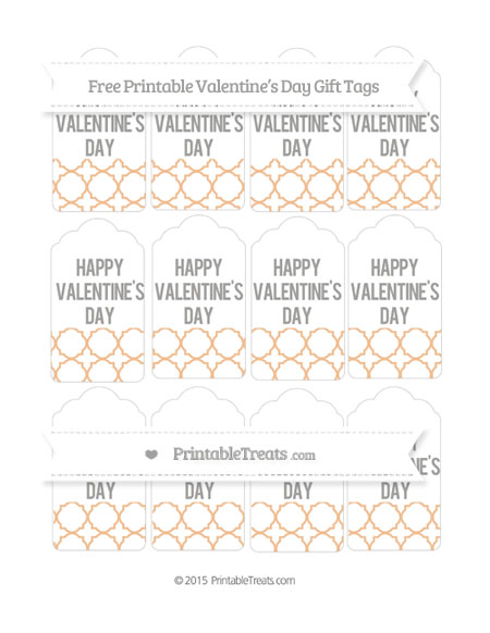 Free Pastel Orange Quatrefoil Pattern Valentine's Day Gift Tags