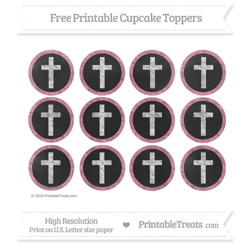 Free Pastel Pink Chalk Style Cross Cupcake Toppers