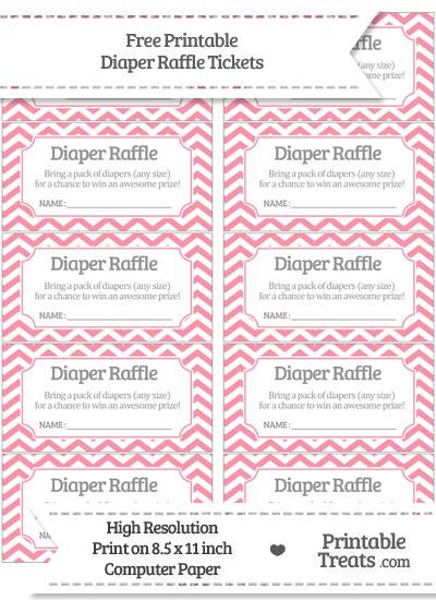 Free Pastel Pink Chevron Diaper Raffle Tickets Printable