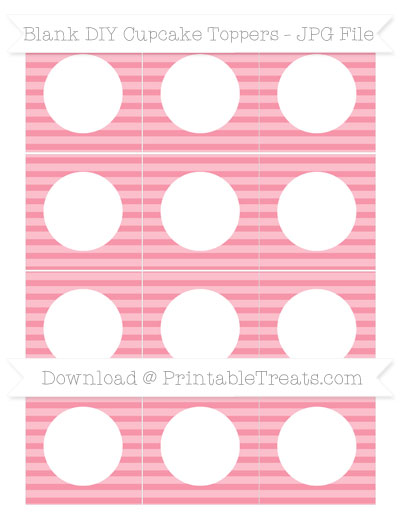 Free Pastel Pink Horizontal Striped Blank DIY Cupcake Toppers