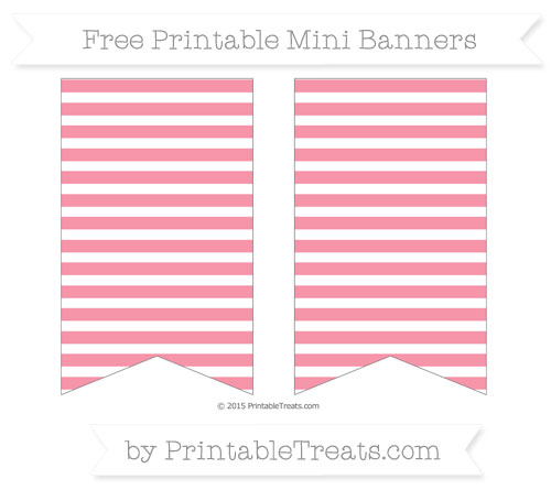 Free Pastel Pink Horizontal Striped On White Simple Mini Banners