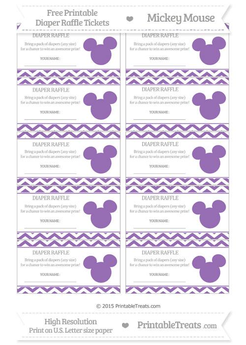 Free Pastel Plum Chevron Mickey Mouse Theme Diaper Raffle Tickets