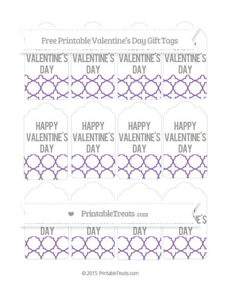 Free Pastel Plum Quatrefoil Pattern Valentine's Day Gift Tags