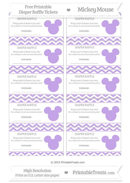 Free Pastel Purple Chevron Mickey Mouse Theme Diaper Raffle Tickets