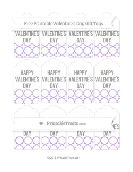 Free Pastel Purple Quatrefoil Pattern Valentine's Day Gift Tags