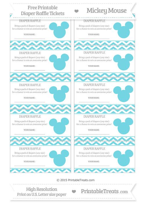 Free Pastel Teal Chevron Mickey Mouse Theme Diaper Raffle Tickets