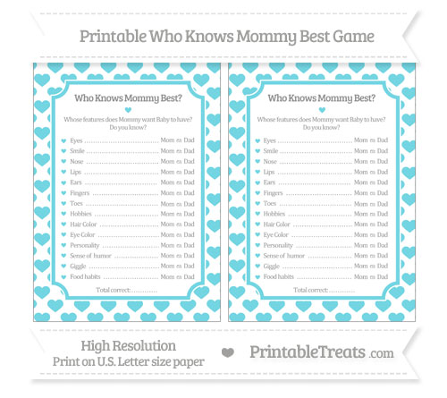 graphic relating to Who Knows Mommy Best Printable referred to as Pastel Teal Centre Routine Who Is familiar with Mommy Least difficult Activity