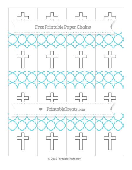 Free Pastel Teal Quatrefoil Pattern Cross Paper Chains