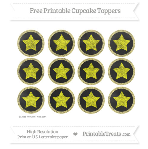 Free Pastel Yellow Chalk Style Star Theme Cupcake Toppers