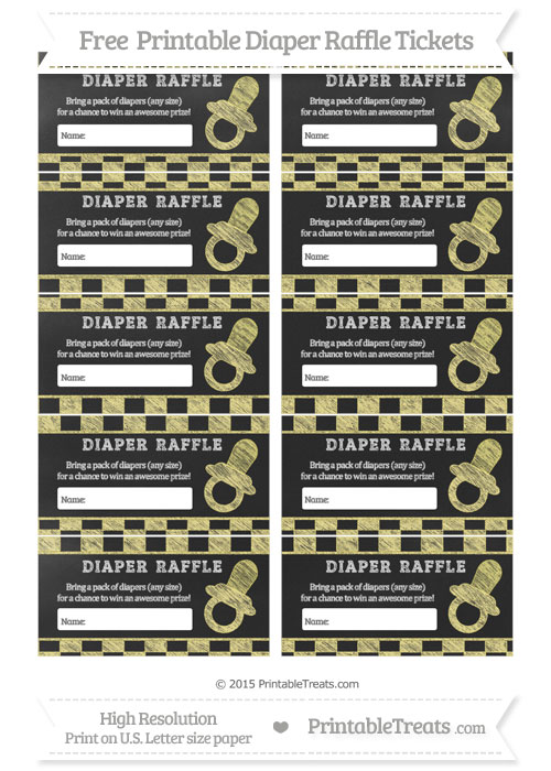 Free Pastel Yellow Checker Pattern Chalk Style Baby Pacifier Diaper Raffle Tickets