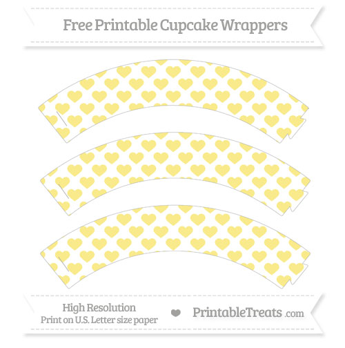 Free Pastel Yellow Heart Pattern Cupcake Wrappers