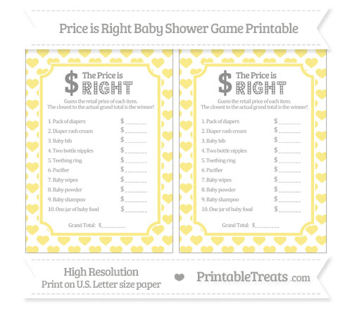 free pastel yellow heart pattern price is right baby shower game