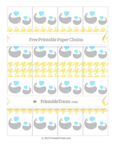 Free Pastel Yellow Houndstooth Pattern Baby Whale Paper Chains
