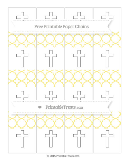 Free Pastel Yellow Quatrefoil Pattern Cross Paper Chains