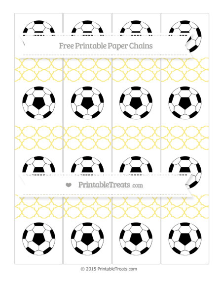 Free Pastel Yellow Quatrefoil Pattern Soccer Paper Chains