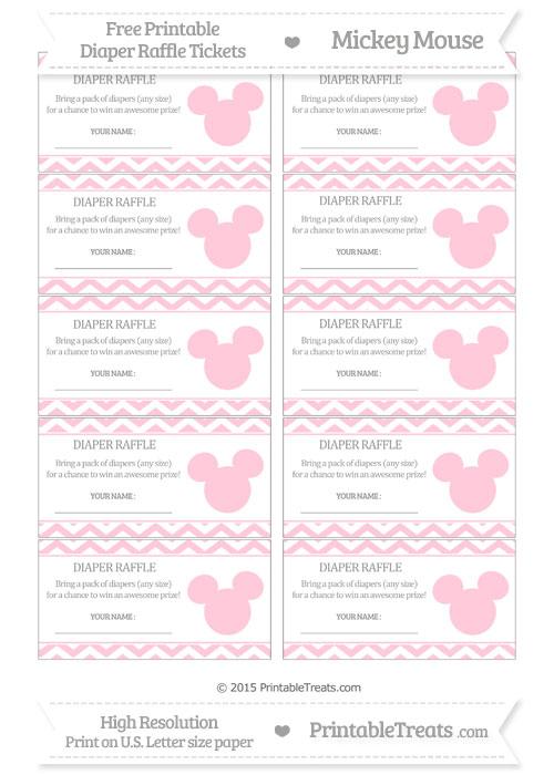 Free Pink Chevron Mickey Mouse Theme Diaper Raffle Tickets