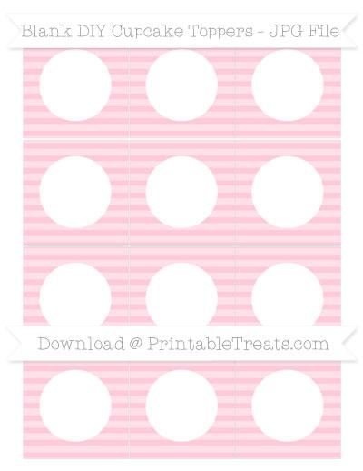 Free Pink Horizontal Striped Blank DIY Cupcake Toppers