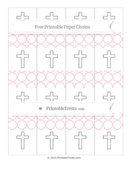 Free Pink Quatrefoil Pattern Cross Paper Chains