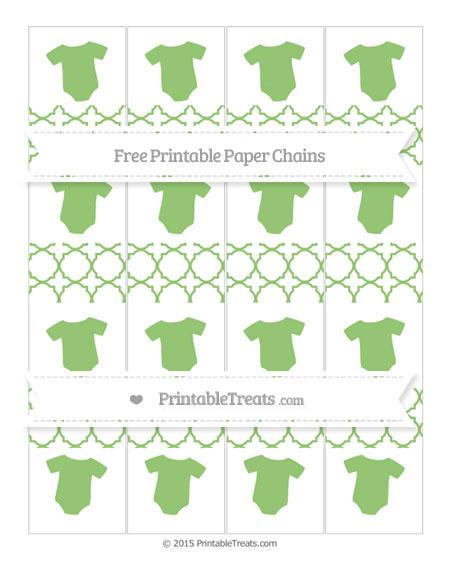 Free Pistachio Green Quatrefoil Pattern Baby Onesie Paper Chains