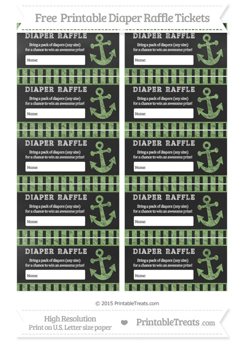 Free Pistachio Green Striped Chalk Style Nautical Diaper Raffle Tickets