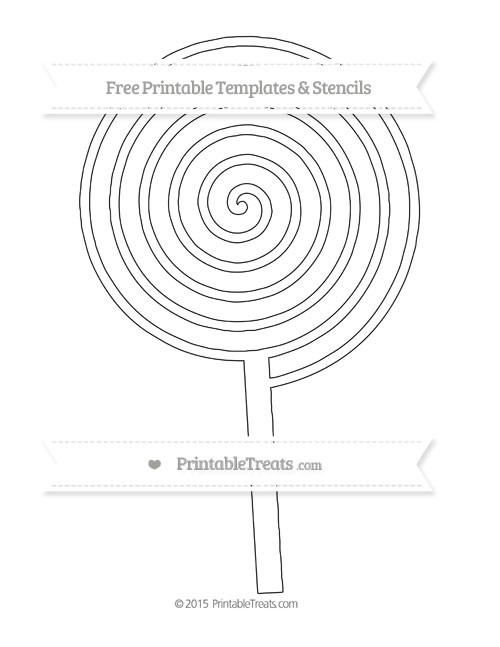 free printable extra large swirly lollipop template printable