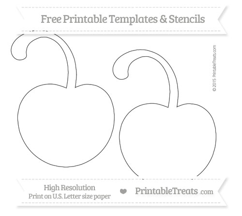 free printable large cherry with curled stem template printable