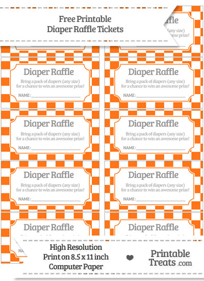 Free Pumpkin Orange Checker Pattern Diaper Raffle Tickets