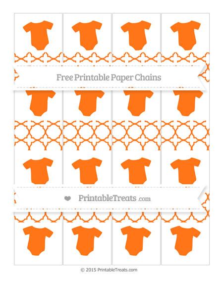 Free Pumpkin Orange Quatrefoil Pattern Baby Onesie Paper Chains