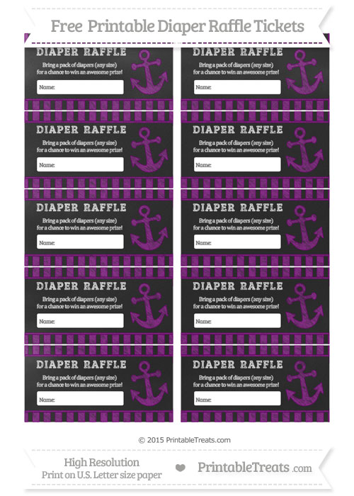 Free Purple Striped Chalk Style Nautical Diaper Raffle Tickets