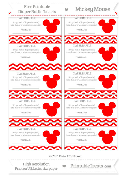 Free Red Chevron Mickey Mouse Theme Diaper Raffle Tickets