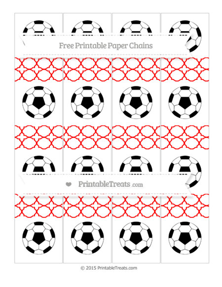 Free Red Quatrefoil Pattern Soccer Paper Chains