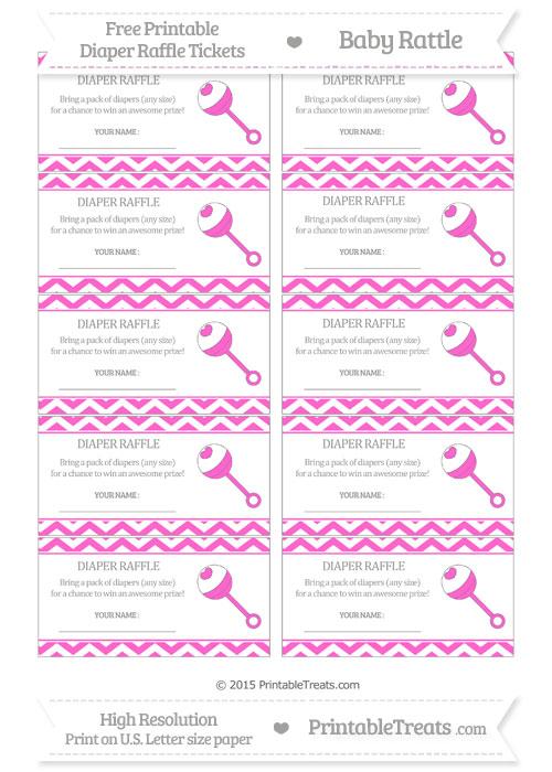 Free Rose Pink Chevron Baby Rattle Diaper Raffle Tickets
