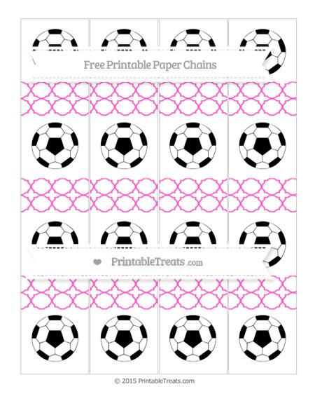 Free Rose Pink Quatrefoil Pattern Soccer Paper Chains