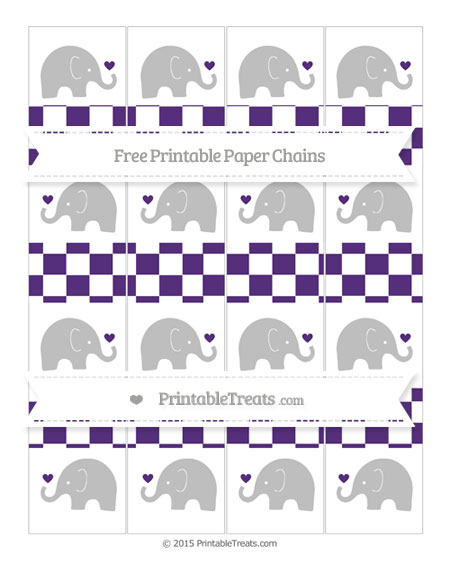 Free Royal Purple Checker Pattern Baby Elephant Paper Chains