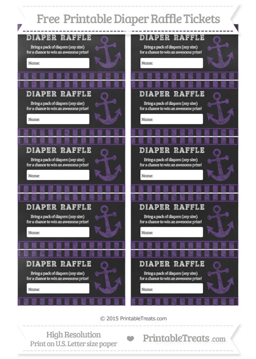 Free Royal Purple Striped Chalk Style Nautical Diaper Raffle Tickets