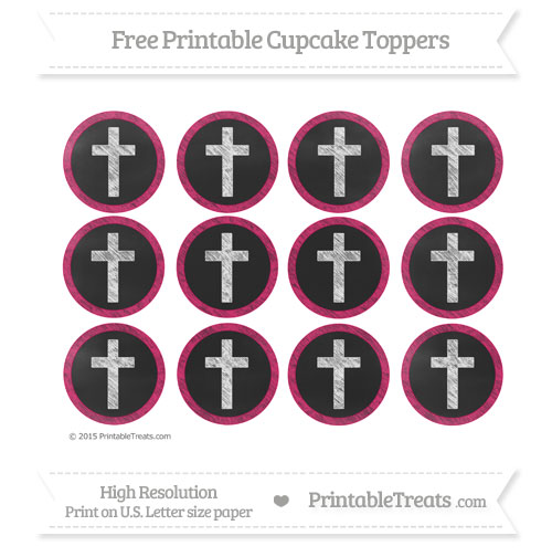 Free Ruby Pink Chalk Style Cross Cupcake Toppers